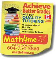 Improve Your Child's Report Card with Math4me Tutoring@ $8-15/hr