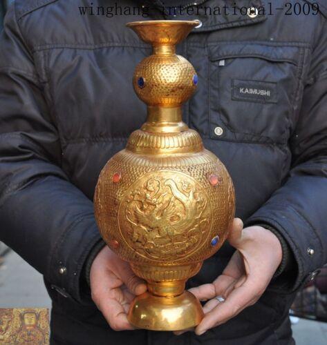 China Bronze 24k gold Gilt Inlay gem Phoenix bird beast Zun Bottle Pot Vase Jar