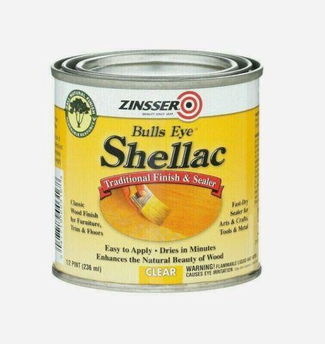 Zinsser BULLS EYE Shellac 0.5 pt CLEAR Traditional FINISH/SEALER Easy Apply 0316