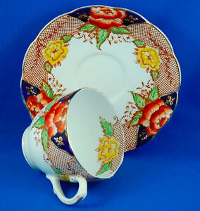 Bell China Cobalt Blue Lattice Orange & Yellow Peony Teacup Set