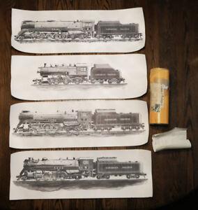 Vintage CP Rail Train / Locomotive Lithograph Prints