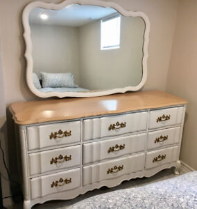 French Provincial Bedroom Dresser, Mirror and Sidetable Set