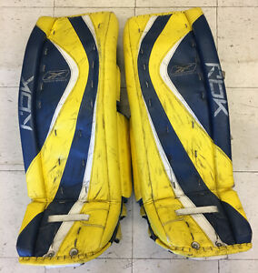 """Used Reebok Premier Series 34"""" goalie pads Pro made in Canada"""