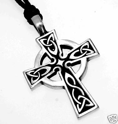 Silver Pewter Irish Wales Celtic Cross Necklace Pendant