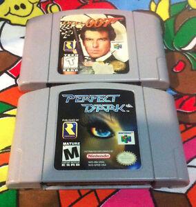 Nintendo 64 N64 games Goldeneye and perfect dark games