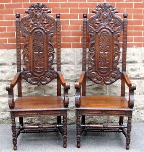 ANTIQUE CHARLES II ARMCHAIRS