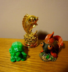 Chinese gold koi, goldfish, lucky green turtle jade figurines