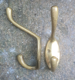 BRASS COAT HOOKS VINTAGE SALVAGE RECLAMATION upcycle