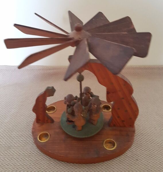 Vintage Handcrafted wooden candle holder