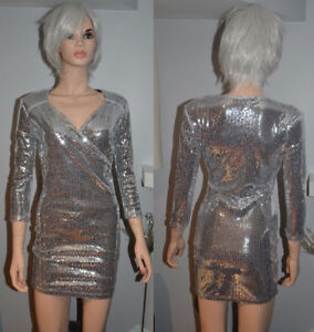 BRAND NEW: Blvd Collection Silver Sequined Dress Size S