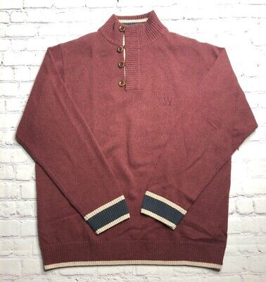 Wolsey Mens Pullover Sweater Oxblood Mock Neck Button Long Sleeve XL New