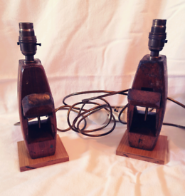Pair of wooden hand plane lamps