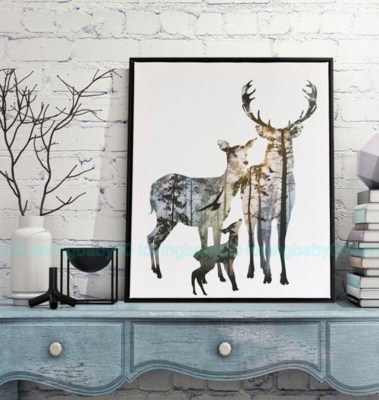 Birds Elk Deer Forest Tree Canvas Prints Wall Art Business Decor Gift Unframed