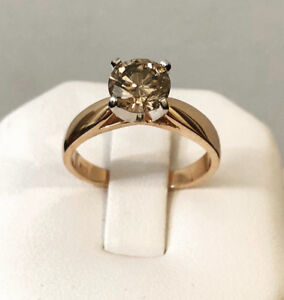 14k Rose gold 1.22ct. fancy brown diamond engagement ring *Wow
