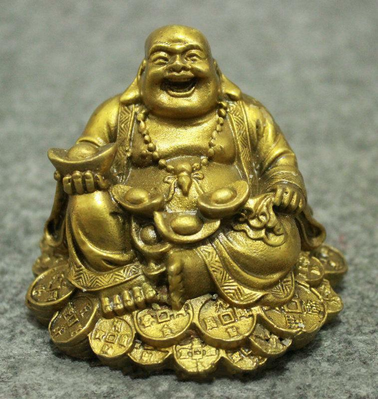 Chinese Copper Wealth YuanBao Happy Laugh Maitreya Buddha Dragon Phoenix Statue