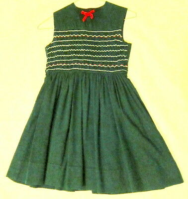 Vintage Girl's Sunday School forest green jumper. Polly Flinders. 1970s.VG Cond.