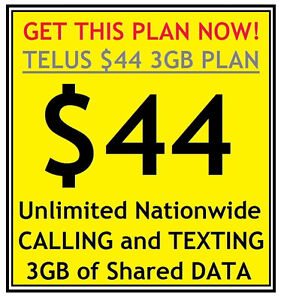 Get the Telus $44 U/L Nationwide Voice/Text and 3GB Data Plan!