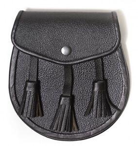 en cuir veritable tous les jours Sporran 3 bijoux de seins noir chaine
