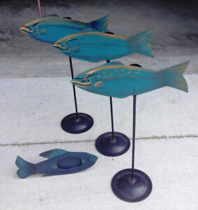 Set of 3 Tall Metal Fish Candlesticks and Matching Frame