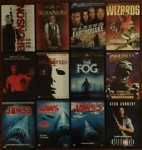 Jaws,Scanners,Outland,Godzilla,Wizards,Halloween,Bruce Lee