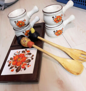 Vintage Cutting Board and Matching French Onion Soup Bowls