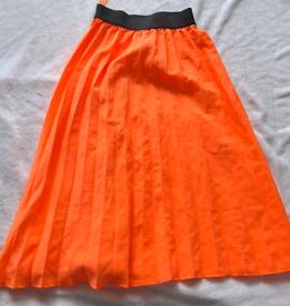 Bright orange, pleated skirt size 22
