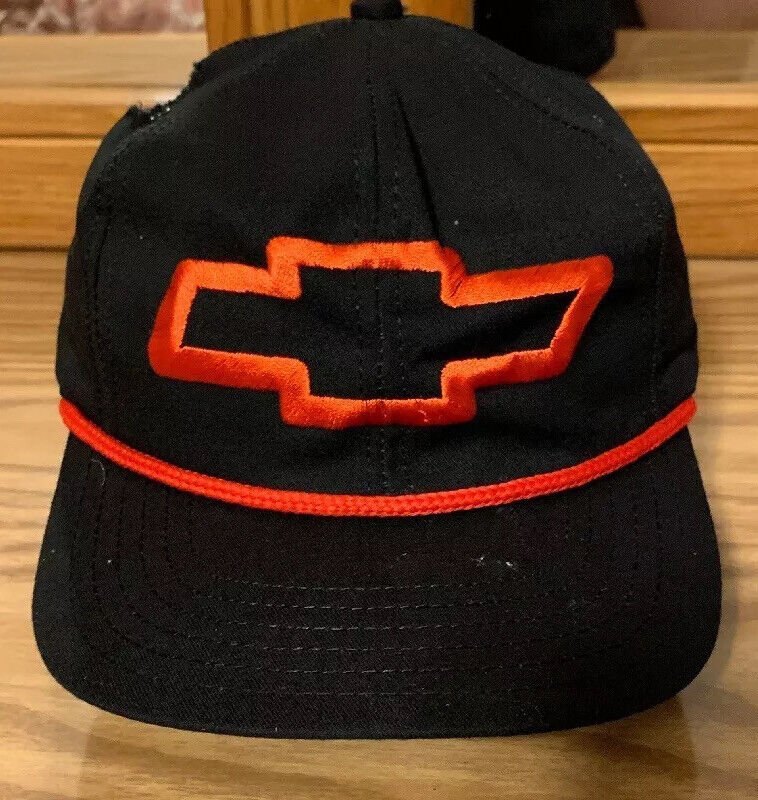 Vintage Chevrolet Cap Bowtie Hat Chevy Logo Red Nascar USA Rope Trucker Black