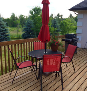 Red-themed Patio Set