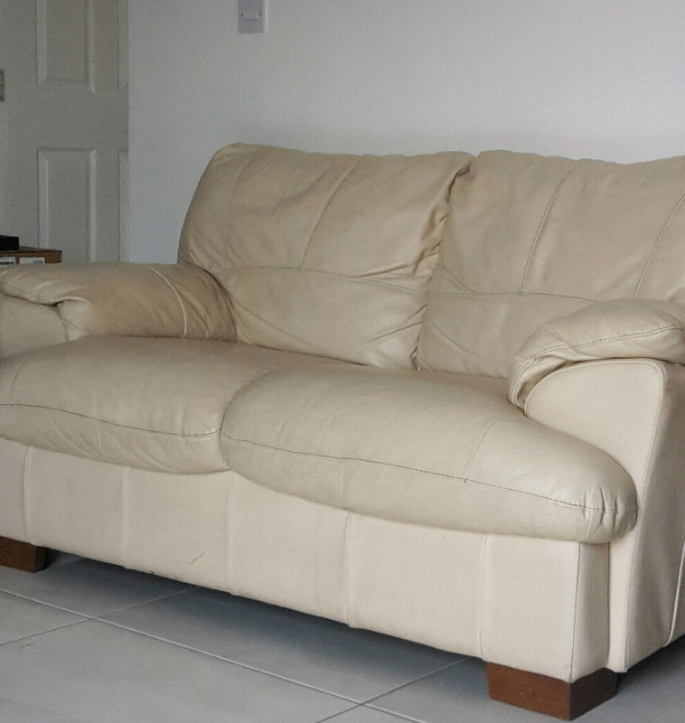 cream leather sofa | in Salford, Manchester | Gumtree