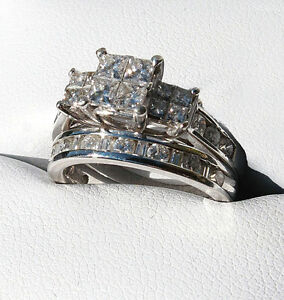 $8200 APPRAISAL!! WHITE GOLD Wedding Engagement Set  SEE VIDEO