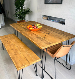 Wooden table and bench, black metal legs