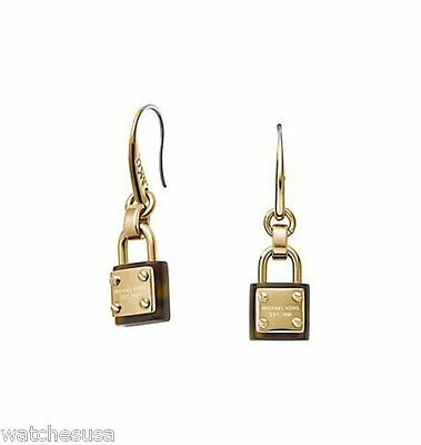 Michael Kors Collection Padlock Logo Drop Gold and Tortoise Earrings MKJ3484