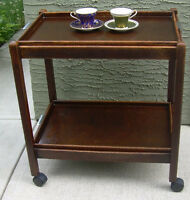 Antique folding tea trolley made of hardwood