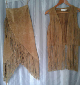 Suede skirt and vest