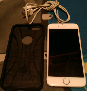iPhone 6 with charger and Spigen case