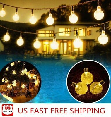 Outdoor Globe String Lights (20ft 30 LED Solar String Ball Lights Outdoor Waterproof Warm White Garden)