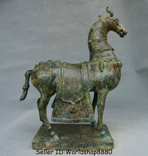 """14.8"""" Antique Chinese Bronze Ware Dynasty Zodiac Year Animal Stand Horse Statue"""