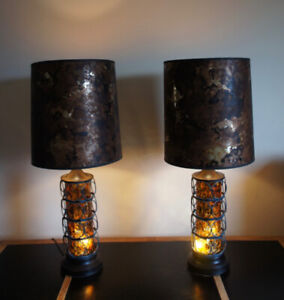 Vintage Mid Century GLOWING AMBER Table Lamps