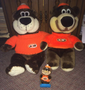 A&W Restaurant Rootbear Rootbeer Teddy Bear Plush Lot of 3
