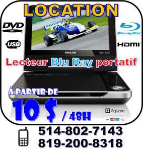 LOCATION Lecteur Blu Ray / DVD Portatif pour auto, voyages HDMI