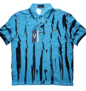 Fred Perry Acid Tie Dye Polo Blue shirt New with Tags Men's Lg
