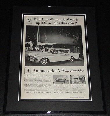 1959 Rambler Ambassador V-8 11x14 Framed ORIGINAL Vintage Advertisement B segunda mano  Embacar hacia Argentina