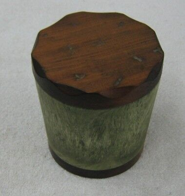 Vintage Aztec Round Wood & Plastic Tobacco Humidor Container Really - Aztec Container