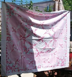 Beautiful Pink and White Vintage Tablecloth