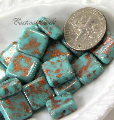 6 Square Beads, 10mm, Turquoise With Copper Splatters, Czech Glass Beads, Pcs