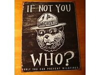 Rustic Vintage Wood Style Smokey The Bear Lodge Cabin Camping Decor Tin Sign NEW