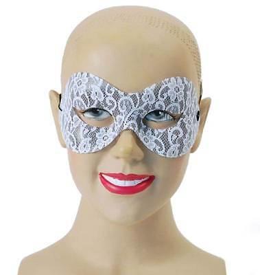 Maskerade Masken Weiß (WEISSE SPITZEN DOMINO MASKE AUGENMASKE, MASKERADE, MASKENBALL #DE)