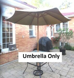 8ft Wood Umbrella for Patio Table, $40 or B.O.