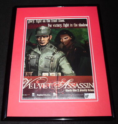 Used, Velvet Assassin 2008 XBox Framed 11x14 ORIGINAL Advertisement  for sale  Shipping to India