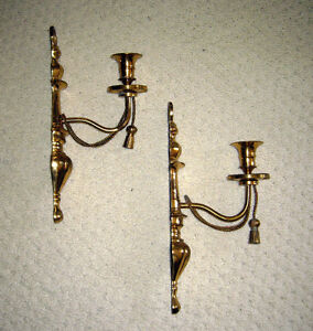 Pair Brass Wall Candle Holders